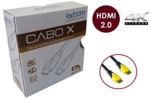 CABO HDMI 5 METROS 2.0 EMBORRACHADO PRETO CBX HX50SM EXBOM