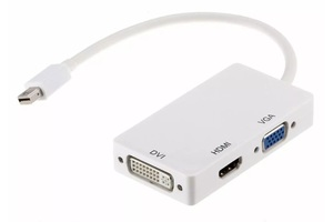 CONVERSOR MINI DISPLAY PORT MACHO X HDMI + DVI + VGA FEMEA