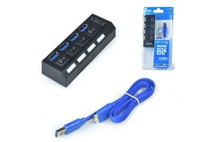 HUB USB 3.0 4 PORTAS COM SWITCH E LED CONEXÃO HI-SPEED