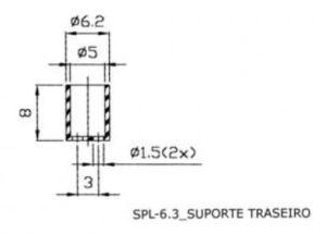 SUPORTE DE LED 5MM SPL 6.3 TRANSPARENTE C/ ROSCA
